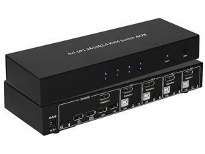 BYTECC KVM-DP401K 4x1 DP 1.2 & USB 2.0 KVM Switch 4K2K Support DP++