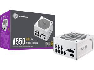 Cooler Master V550 Gold White Edition V2 Full Modular, 550W, 80+ Gold Efficiency, Semi-fanless Operation, 16AWG PCIe High-efficiency Cables, 10 Year Warranty