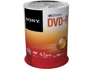 SONY 4.7GB 16X DVD-R 100 Packs Discs Model 100DMR47SP
