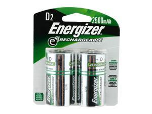 ENERGIZER Recharge 2500mAh Size D Ni-MH Rechargeable Battery, 2-Pack