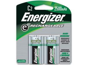 ENERGIZER Recharge 1.2V 2500mAh Size C Ni-MH Rechargeable Battery, 2-Pack