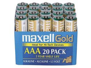 Maxell LR03 20MP AAA Gold Series Alkaline Battery Retail Pack - 20 Pack