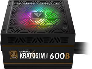 Gamdias Kratos M1-600B 600W ATX12V v2.2 80 PLUS BRONZE Certified Non-Modular Active PFC Power Supply with Built-in RGB Lighting Effects and Addressable LEDs