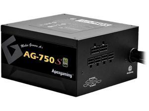 APEXGAMING AG Series Gaming Power Supply (AG-750S), 750W 80 Plus Gold Certified, Semi Modular, Active PFC, Continuous power 750W, Peak power 950W, 10 Year Warranty