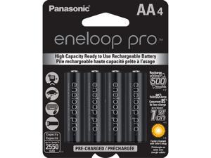 Panasonic Eneloop Pro AA 2550mAh 500 Cycle New High Capacity Ni-MH Pre-Charged Rechargeable Batteries 4 Pack