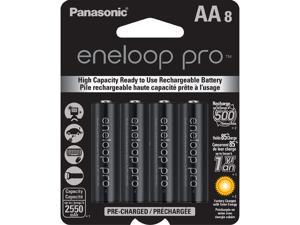 Panasonic Eneloop Pro AA 2550mAh 500 Cycle New High Capacity Ni-MH Pre-Charged Rechargeable Batteries 8 Pack