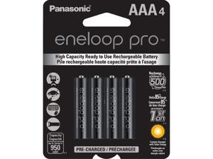 Panasonic Eneloop Pro AAA 950mAh 500 Cycle New High Capacity Ni-MH Pre-Charged Rechargeable Batteries 4 Pack