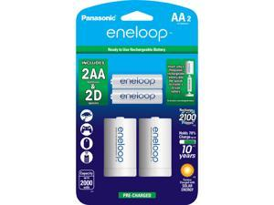 "Panasonic K-KJS1MCA2BA eneloop 2-pack AA Rechargeable Batteries + 2 ""D"" Spacer Kit"