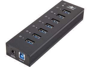 VANTEC UGT-AH710U3-BK 7-Port USB 3.0 Aluminum Hub with 12V/3A Premium Power Adapter