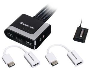 IOGEAR GCS62HDPKIT 2-Port HDMI and DisplayPort Cable KVM Kit with Audio
