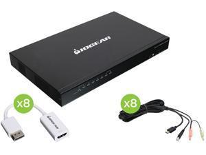 IOGEAR GCS1808HDPKITU 8-Port USB PS/2 Combo HD DisplayPort KVM Kit