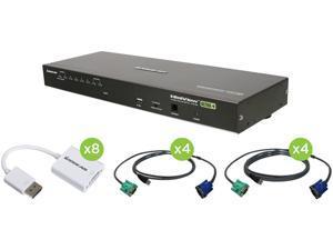 IOGEAR GCS1808DPKITU 8-Port USB PS/2 Combo VGA DisplayPort KVM Kit