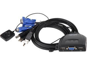 Tripp Lite 2-Port USB / VGA KVM Switch Cable w/ Audio & Peripheral Sharing (B032-VU2)
