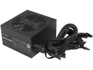 EVGA 500 W3, 80+ 500W, Compact 140mm Size, Non-Modular Active PFC Power Supply, 3 Year Warranty, 100-W3-0500-K1