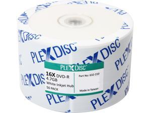 PlexDisc 4.7GB 16X DVD-R White Inkjet Printable 50 Packs Disc Model 632-210