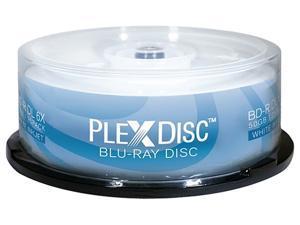 PlexDisc 50GB 6X BD-R DL White Inkjet Hub Printable 25 Packs Disc Model 645-213