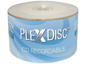 PlexDisc 52X 700MB White Inkjet Hub Printable CD-R 50 Packs Disc Model 601-200