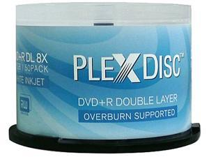 PlexDisc 8.5GB 8X DVD+R DL Inkjet Printable 50 Packs CD/DVD R/RW Media Model 608-204