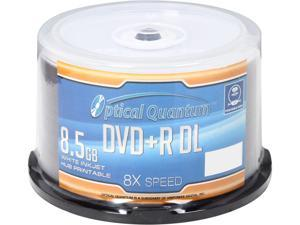 Optical Quantum 8.5 GB 8X DVD+R DL White Inkjet Hub Printable 50 Packs Disc Model OQDPRDL08WIP-H