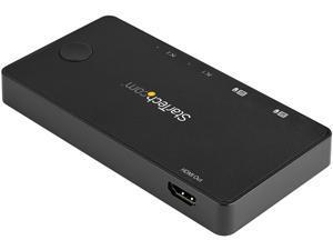 StarTech.com SV211HDUC 2 Port USB C KVM Switch - 4K 60Hz HDMI - Compact Dual Port UHD USB Type C Desktop Mini KVM Switch with USB C Cables - Bus Powered - MacBook iPad Pro ThinkPad IdeaPad EliteBook