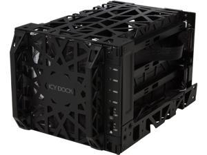 """ICY DOCK 4 Bay 3.5"""" SATA Hard Drive Backplane Cooler Cage with 120mm Front LED Fan in 3 x 5.25"""" Bay - Black Vortex MB074SP-1B"""