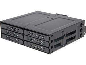 "ICY DOCK MB608SP-B Rugged Full Metal 6 Bay 2.5"" SATA HDD & SSD Removable Drive Enclosure Backplane Cage for 5.25"" Bay"