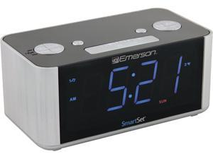 Emerson CKS1708 SmartSet Alarm Clock FM Radio with USB Charger for iPhone and Android, and Blue LED Display