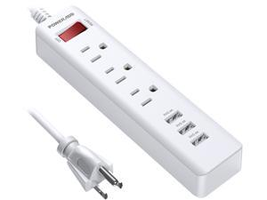 Poweradd 1250W 3-Outlet Surge Protector 3 USB Ports Power Strip With 5ft Extension Power Cord - UL Listed