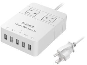 ORICO 2 Outlet Power Strip  with 5 USB Charging Ports 5ft for iPhone /iPad/LG/Samsung/HTC and More SurgeArrest Home / Office - White ( HPC-2A5U)