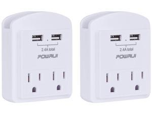 POWRUI USB Wall Charger, Small Surge Protector, USB Outlet with 2 USB Ports (2.4A Total) and Top Phone Holder for Apple, iPhone, iPad, Samsung, 1080Joules, White (2-Pack), ETL Certified