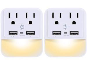 POWRUI USB Wall Charger, Outlet Adapter, 2-Pack Surge Protector (1080 Joules) with Dual USB Charger Ports(2.4A Total), Dual Outlet Extender and Dusk-to-Dawn Sensor Night Light, White, ETL Certified