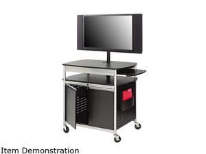 """Safco Flat Panel Multimedia Cart Holds 42"""" 39-1/2""""x27""""x68"""" BK/SR 8941BL"""