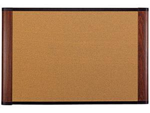 Cork Bulletin Board 72 x 48 Aluminum Frame w/Mahogany Wood Grained Finish