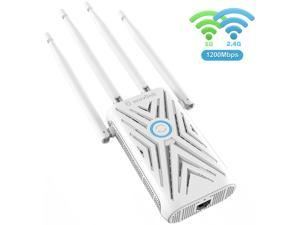 Wavlink AC1200 Dual Band WiFi Range Extender, Access Point Wireless Repeater Signal Amplifier Booster with 4 High Gain External Antennas, 802.11ac, WPA2, WPA, WPS Easy Setup, Wall Plug