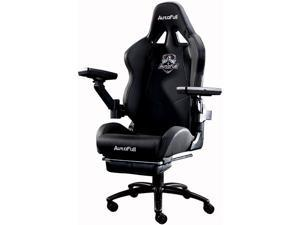 AutoFull Pro Big and Tall Gaming Office Chair Ergonomic High Back PU Leather Bucket Seat Racing Desk Grey Chairs with Footrest and Mechanical Armrest