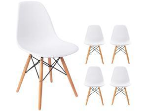 Waleaf Set of 4 Modern Eames Style Dining Chair Mid-Century DSW Side Chair with Natural Wood Legs, Shell Lounge Plastic Chair for Kitchen, Bedroom, Living and Dining Room (White)