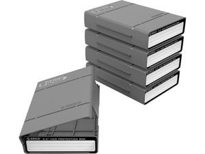 """[5Pack in Package] ORICO 3.5 inch Shockproof Hard Disk Drive Protective Box Storage Case for 3.5"""" HDD SSD Hard Drive Protective Case"""