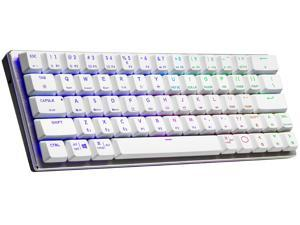 Cooler Master SK622 Silver White Wireless 60% Mechanical Keyboard with Low Profile Blue Switches, New and Improved Keycaps, and Brushed Aluminum Design