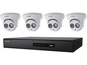 HIKVISION - 4-Channel 5MP NVR with 1TB HDD and 4 x 4MP Outdoor Turret Cameras Kit, I7604N1TP