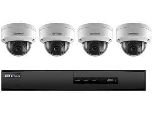 HIKVISION - 4-Channel 5MP NVR with 1TB HDD and 4 x 2MP Outdoor Dome Cameras Kit, I7604N1TA