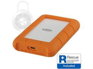 LaCie Rugged Secure USB-C 2TB All-Terrain Encrypted Portable Hard Drive Model STFR2000403