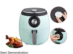Deep Fry Pan Deluxe Electric Air Fryer + Oven Cooker with Temperature Control, Non Stick Fry Basket, Recipe Guide + Auto Shut Off Feature, 6 qt, Aqua