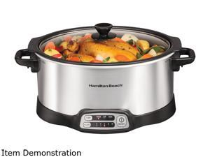 Hamilton Beach Stovetop Sear & Cook Slow Cooker (33662), 6 Quart Capacity, Stainless Steel