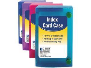 C-Line 58046 Index Card Case, Holds 200 4 x 6 Cards, Polypropylene, Assorted