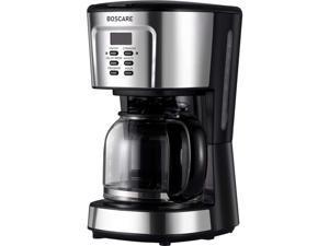 BOSCARE programmable coffee maker,2-12 Cup Drip Coffee maker, Mini Coffee Machine with Auto Shut-off, Strength Control, Silver Black
