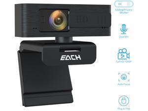 EACH AutoFocus Full HD Webcam with Privacy Shutter 1080P-360 Degree Rotating Webcam-USB Computer Camera for PC Laptop Desktop Mac Video Call