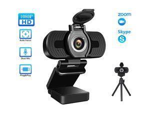 TROPRO 1080P Webcam for PC, Full HD Computer Camera with Cover, USB Web Cam with Microphone, Cover, Expandable Tripod, Streaming Camera for Skype, Streaming, Teleconference etc.