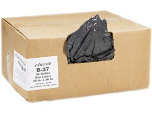 2-Ply Low-Density Can Liners, 30Gal, 0.6Mil,30 X 36, Black, 250/Carton