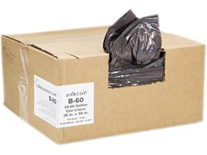 2-Ply Low-Density Can Liners, 55-60Gal, .8 Mil, 38X58 Black, 100/Carto