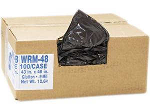 2-Ply Low-Density Can Liners, 56 Gal, .8 Mil, 43 X 48, Black, 100/Cart